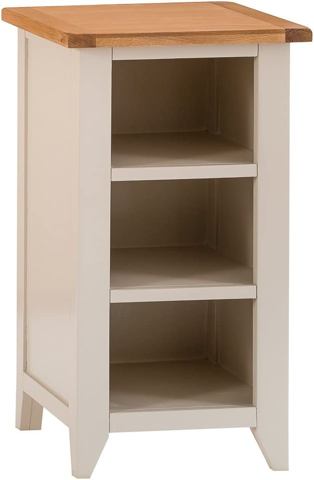 The Furniture Outlet Chester Grey Painted Oak Small Narrow Bookcase