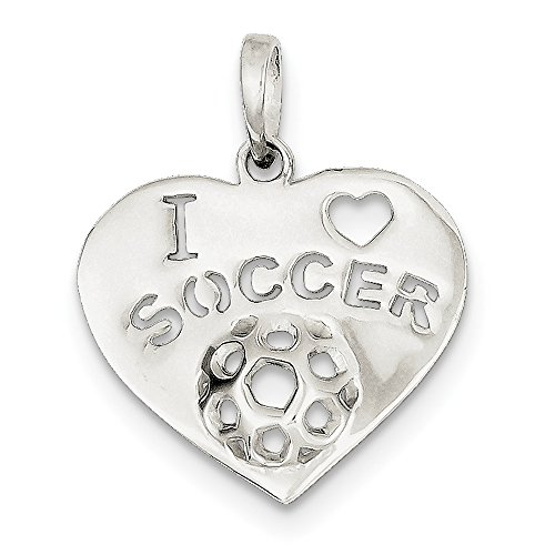 (925 Sterling Silver I Love Soccer Heart Pendant Charm Necklace Sport Fine Jewelry Gifts For Women For Her)