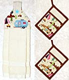 3 Piece Kitchen Set - RV Camping Decor - 1 Hanging Hand Towel - 2 Quilted Pocket Potholders - Ivory Plush Towel