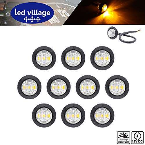 [Pack of 10] LedVillage 3/4 Inch Round Clear Lens Amber LED Indicator Side Marker Lights 2835 Chipset Waterproof Button Bullet for Trailer Tractor RV Lorry Jeep Camper SUV Bus 12V DC Tail Turn 3led-HL (Amber Lens Red Body)