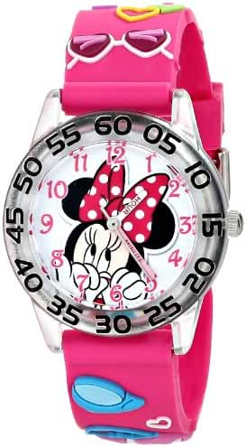 Disney Kids' W001522 Minnie Mouse Plastic Watch with Pink 3D Plastic Strap