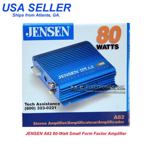 Jensen 2 Channel - JENSEN A82 STEREO 2 CHANNEL 80 WATTS POWER AMPLIFIER
