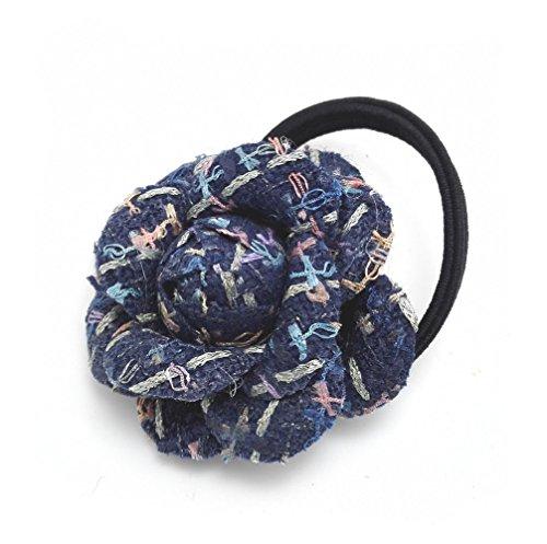 Jeweled Flower Banana (Meilliwish Fashion Fabric Flower Ponytail Holder Hair Tie (Dark Blue))