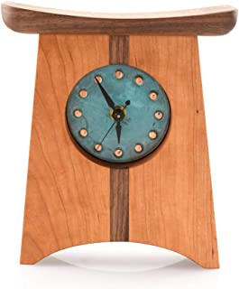 product image for Modern Artisans American-Made Appalachia Shelf Clock, Natural Cherry and Walnut Wood with Green Copper Face, 9""