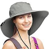 Wide Brim Sun Hat Outdoor UV Protection Safari Cap for Women Grey