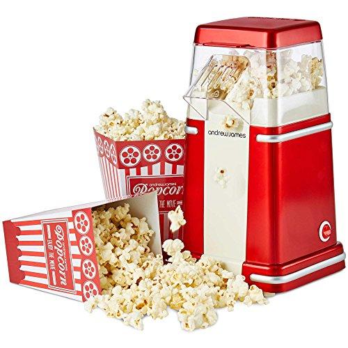 Andrew James Cinema Style Popcorn Maker - Retro Hot Air Popper Machine with...