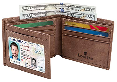 Piel Hipster Wallet - Men's Bifold Wallet - RFID Blocking Cowhide Leather Vintage Travel Wallet (Chocolate brown-vintage top grain leather)