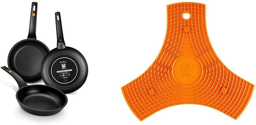 BRA Efficient Set de 3 sartenes, 18-22-26 cm, Aluminio Fundido con Antiadherente Platinum Plus, Apta para inducción + Salvamanteles, Silicona, Naranja, 2 Unidades: Amazon.es: Hogar