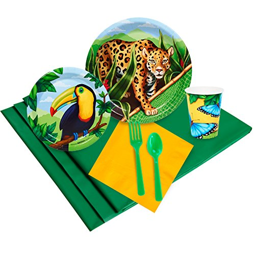 BirthdayExpress Jungle Party Supplies - Party Pack for 16 - Jungle Birthday Party Supplies