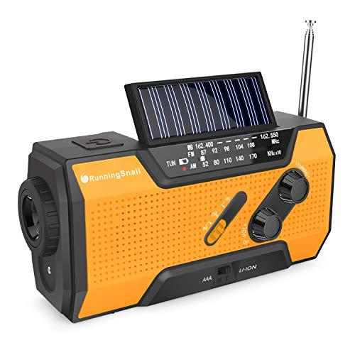 RunningSnail Solar Crank NOAA Weather Radio for Emergency with AM/FM, Flashlight, Reading Lamp and 2000mAh Power Bank(Orange)