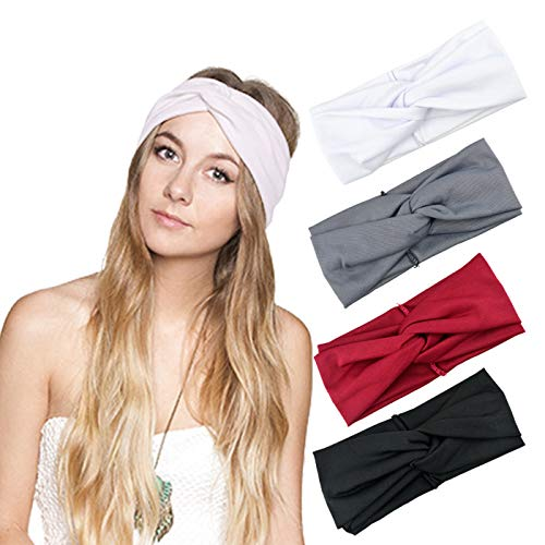 DRESHOW 4 Pack Turban Headbands for Women Hair Vintage Flower Printed Cross Elastic Head Wrap (Soft Fabric Hair Accessory)