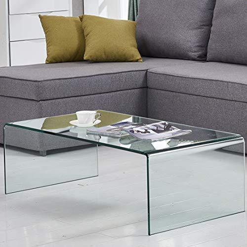 GlassHome Black Friday Sales 2018 Coffee Table Thick Tempered Glass Living Room Table Accent Furniture with 15 Year Warranty Bent Table(Clear)