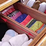 Adjustable & Expandable Drawer Dividers and Organizers for Household Storage, Red Wood Cedar, 2 Pack