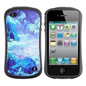"Hypernova Slim Fit Dual Barniz Protector Caso Case Funda Para Apple iPhone 4 / iPhone 4S [Iceberg Planet Space Terreno Azul""]"