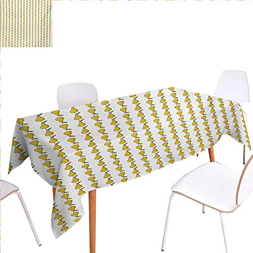 """familytaste Pear Dinning Tabletop Decoration Pattern with Little Graphic Pears Up and Down Fresh Juicy Fruit Table Cover for Kitchen 54""""x72"""" Pale Earth Yellow Green White"""