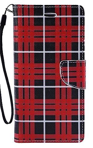 Iphone 6s Plus Case, Caseloca [Wrist Strap] Flip Folio [Kickstand Feature] PU leather wallet case with Credit Card Pockets For Iphone 6 plus / 6S Plus 5.5, Sunflowers (Red Argyle - Argyle Purse