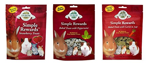 Simple Rewards Small Animal Treats 3 Flavor Variety Bundle (1) Each: Freeze Dried Strawberry, Baked Peppermint, Baked Carrot Dill, .5-2 -