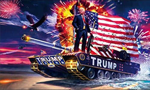 Donald Trump Flags Rare Tank 3x5 ft Digital Print Double Stitched Banner With Metal Grommets