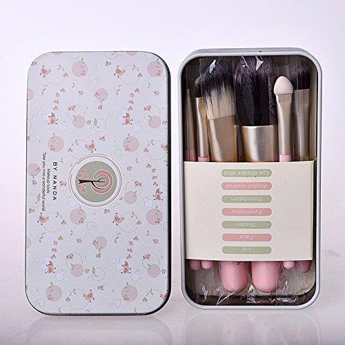 JD Million shop Makeup brushes Professional 7 brushes Set Mini pink cosmetics make up brush Kit Metal box maquiagem brush cosmetic tool