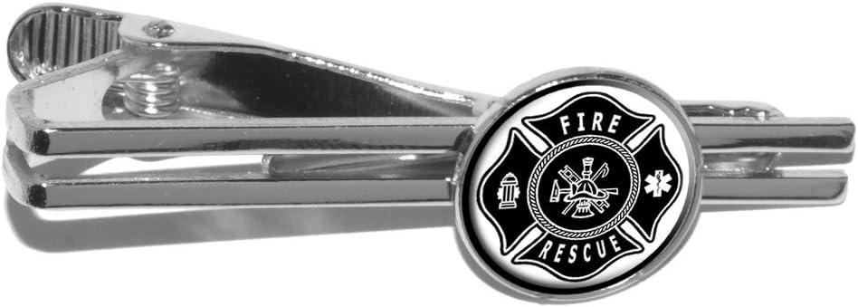 Firefighter Firemen Maltese Cross - Black Round Tie Bar Clip Clasp Tack - Silver