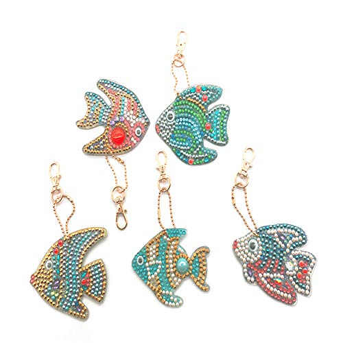 5D DIY Keychains Diamond Painting Kits for Adults Full Diamond Inlaid Cell Phone Handbag and Key Pendant(Fish Set)