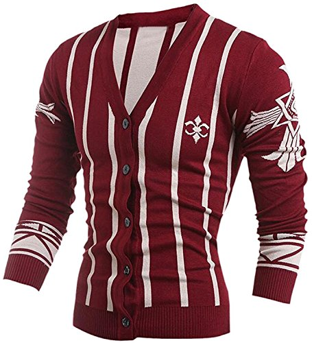 Labaqiangj Men Wild Floral Stripe Long Sleeves Buttoned Jersey Cardi Wine RedUS X-S=China M (Morph Suit Price)