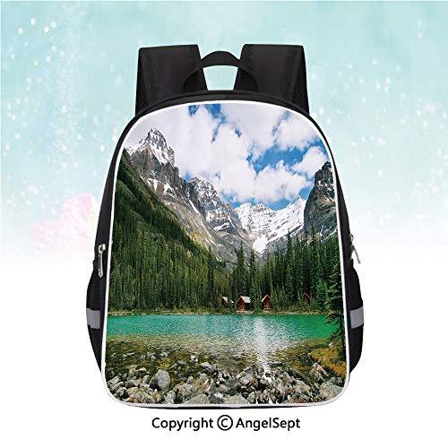 School Student Backpack,Canada Ohara Lake Yoho National Park with Mountains Nature Scenery Art Photo,13