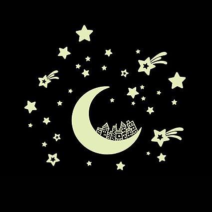 Kumkey Leuchtaufkleber Leuchtsticker Fluoreszierend Wandsticker  Selbstklebend Sterne Mond Aufkleber Leuchtpunkte Sternenhimmel für  Schlafzimmer ...