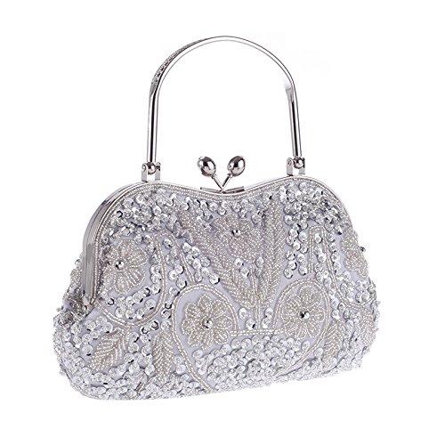 Bridal Evening Handle Clutch Luxury Bag Clutch White Purse Handbag Chain With Womens Satin Fabric wx8vA