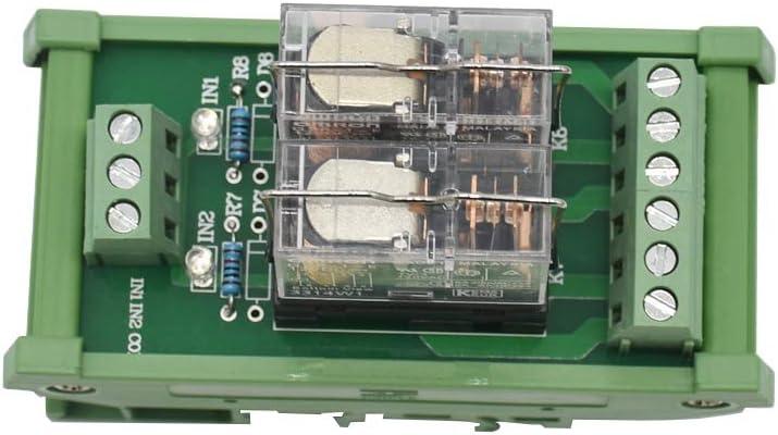 CUHAWUDBA Montaje en Carril DIN Ac/Dc 12 / 24V Control 2 Spdt 16A MóDulo de Relé de Potencia, G2R-1-E.X1 (12V)