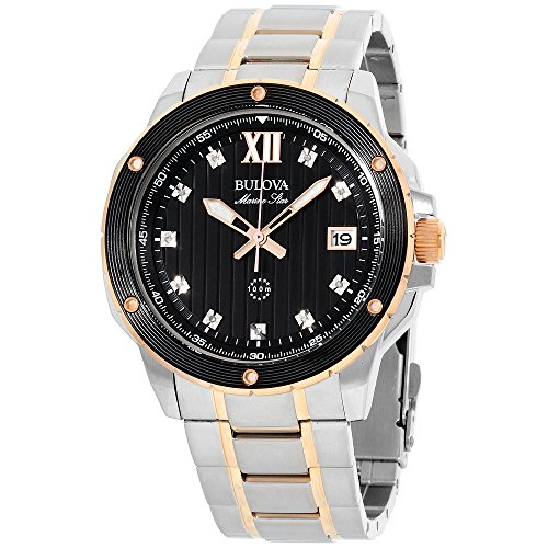 Bulova Marine Star Black Diamond Dial Stainless Steel Men's Watch 98D127XG (Certified Refurbished) (Dial Bulova Diamond Black Mens)