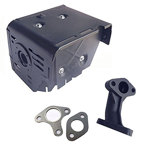 FDJ Replacement GX340 GX390 Muffler Assembly with Head Shield Manifold and Two Gaskets