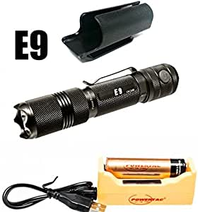 Bundle: PowerTac E9 1020 Lumen LED Flashlight Side Button on Tail Cap Dual Switches with 18650 3400mAh USB Rechargeable Kit
