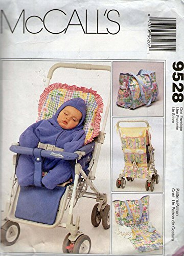 McCalls 9528 Baby Infant Toddler Stoller Organizer Cushion Diaper Bag Bunting Hat Sewing Pattern