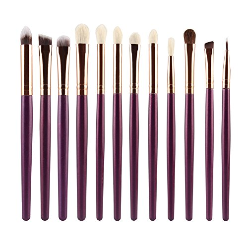 Easydeal 12Pcs Makeup Brush Eyeshadow Eyeliner Blush Lip Foundation Powder Liquid Cream Cosmetic Blending Brushes Set (Purple + Rose Gold)