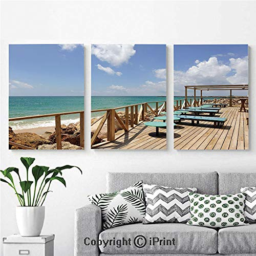 Wall Art Decor 3 Pcs High Definition Printing Bar Terrace Beach Shore Culatra Island Portugal Vacation Holiday Painting Home Decoration Living Room Bedroom Background,16