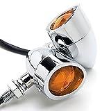 TASWK 2Pcs Heavy Duty Motorcycle Bullet Chrome Turn Signals Blinker Amber Indicator Lights Lamp (Chrome)