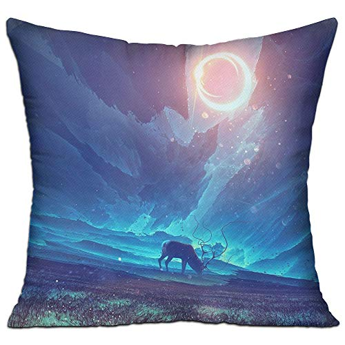 Shing Artwork Concept Art Fantasy Art Elk Sunlight Field Solar Eclipse Double Side Print Coffee Shop Decor White One Size Throw Pillow Square 18'' X 18''inch by Shing