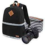 Kattee Women's Canvas SLR DSLR Camera Backpack 14'' Laptop Bag for Canon Nikon with Waterproof Rain Cover Tripod Holder (Black Flower, Small)