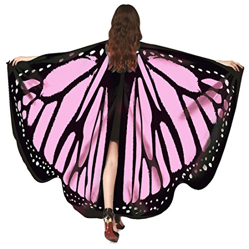 KESEE☀☀Women Soft Butterfly Wings Adult Costume Accessory,Ladies Colorful Nymph Pixie Poncho Costume Accessory,Two Size: Adult and Kids (Pink 1)