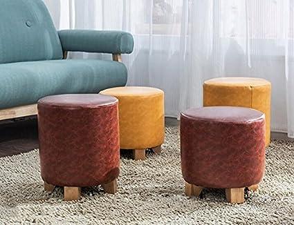Farbe : Braun, gr/ö/ße : 29 * 30CM Xin-stool Einfacher Massivholz Kleiner Hocker//Wohnzimmer Hocker//Leder Hocker//Kissen Hocker