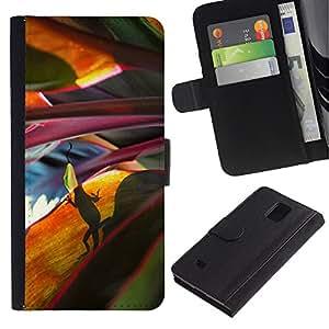 KingStore / Leather Etui en cuir / Samsung Galaxy Note 4 IV / Hojas Naturaleza escena de la selva