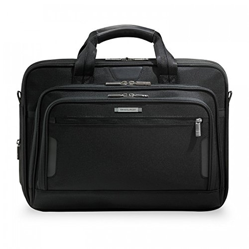 Briggs & Riley @ Work Luggage Medium Expandable Brief, (Expandable Leather Laptop Brief)