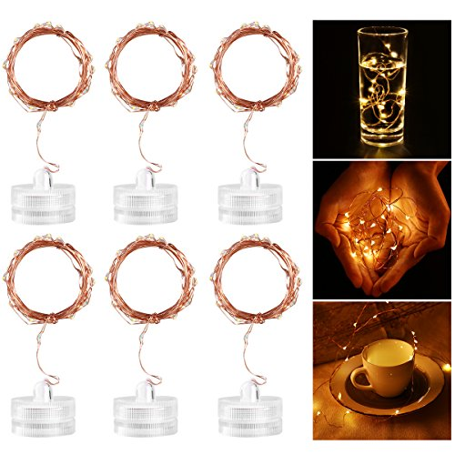 LEORX 6 Pack Waterproof Fairy String Light with 20 Micro LED 2M Candle Copper Wire Light(Warm White)