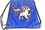 Fun Fabric Drawstring Bags with Various Lovable Prints/Backpack/Travel Sack for Women and Girls (Blue Sweet Unicorn)