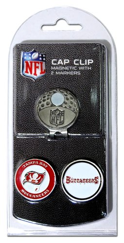 Team Golf NFL Tampa Bay Buccaneers Golf Cap Clip with 2 Removable Double-Sided Enamel Magnetic Ball Markers, Attaches Easily to Hats
