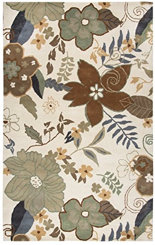 Rizzy Home Pandora Collection Wool Khaki/Brown/Sage/Blue Floral Area Rug 5' x 8'