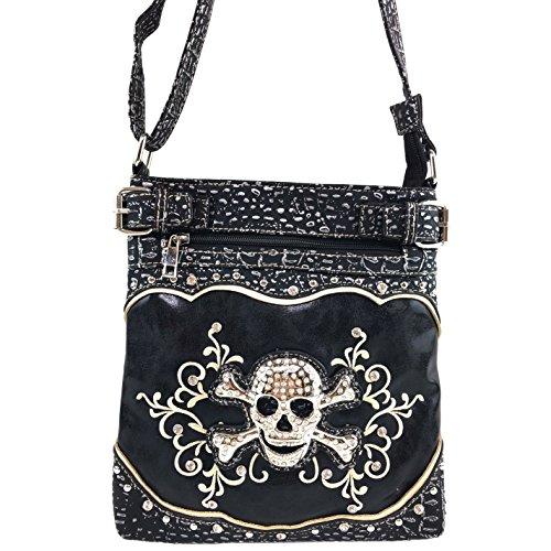 Justin West Rhinestone Skull Embroidery Floral Design Shoulder Chain Handbag and Wristlet Trifold Wallet Attachable Long Strap (Black Messenger Bag) by Justin West