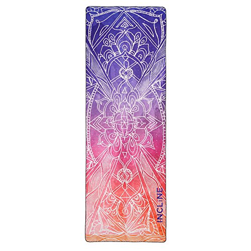 Incline Fit Yoga Towel Skidless Printed Hot Yoga Towel, Mandala Mantra