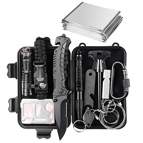 Jinager Survival Gear Kits Outdoor Survival Gear Tool for Trip,with Fire Starter, Whistle, Wood Cutter, Tactical Pen for Camping, Hiking, Climbing for Wilderness/Trip/Cars/Hiking/Camping